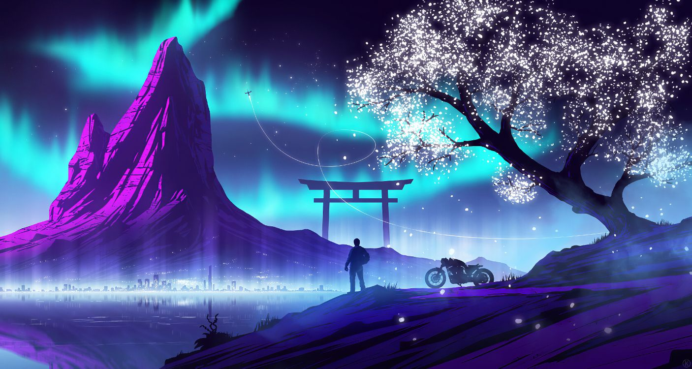 Wallpaper Synthwave Digital Art Painting Atmosphere World Background Download Free Image